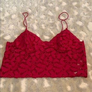 FREE PEOPLE RED LACE CROP TOP❤️